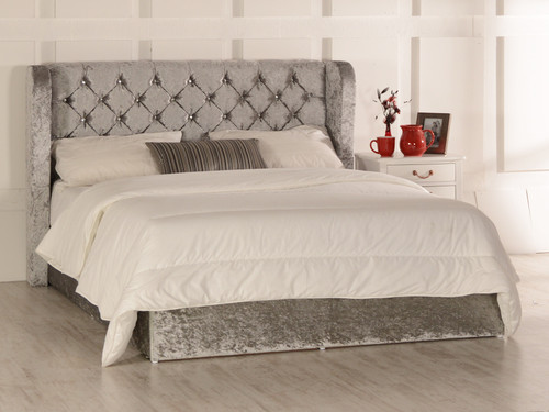 Destiny Gas Lift Ottoman Wing Bed Silver Crush Velvet Diamante Buttons
