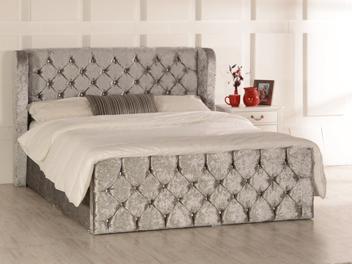 Ophelia Gas Lift Ottoman Wing Bed Silver Crush Velvet Diamante Buttons