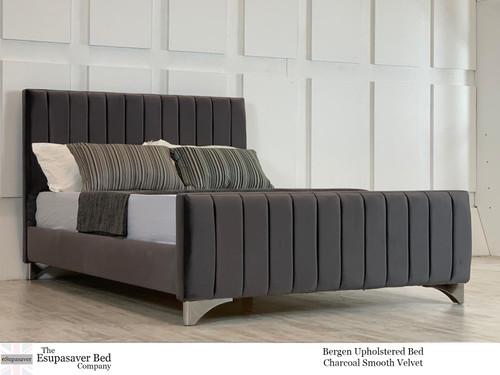 Bergen Upholstered Bed Charcoal Smooth Velvet