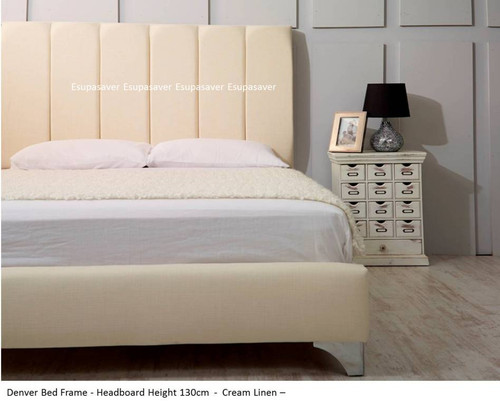 Denver Bed Frame.. Available in Crush Velvet, Chenille, Linen or Faux Suede Fabrics
