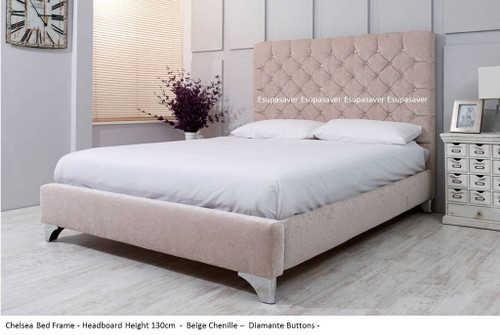 Chelsea Bed Frame. Available in Crush Velvet, Chenille, Linen or Faux Suede Fabrics