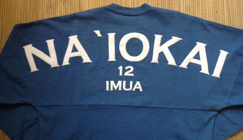 "Adult ""Na `Iokai"" Long-Sleeved Football Jersey-White Print on Slate - SOLD OUT"