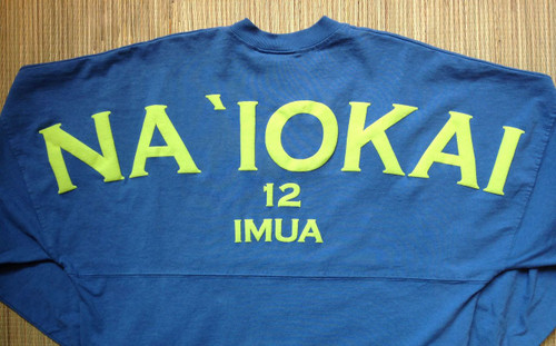 "Adult ""Na `Iokai"" Long-Sleeved Football Jersey-Lime Print on Slate - SOLD OUT"