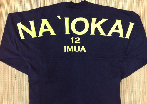 "Adult ""Na `Iokai"" (Seahawks in Hawaiian) Long-Sleeved Football Jersey-Lime Print on Deep Indigo"