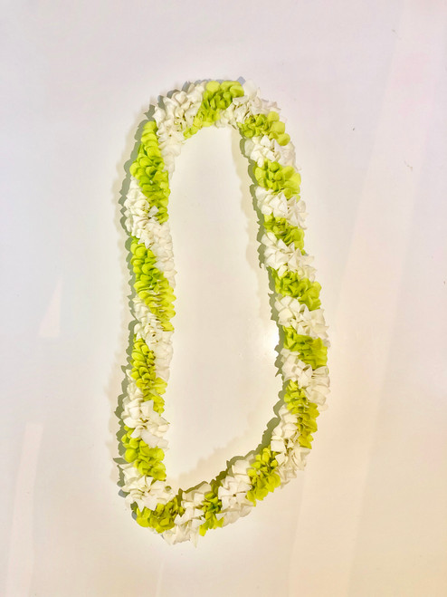 Spiral Orchid Lei: Green & White