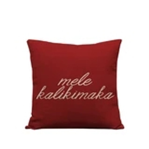 "Pillow Cover ""Mele Kalikimaka"" Red"