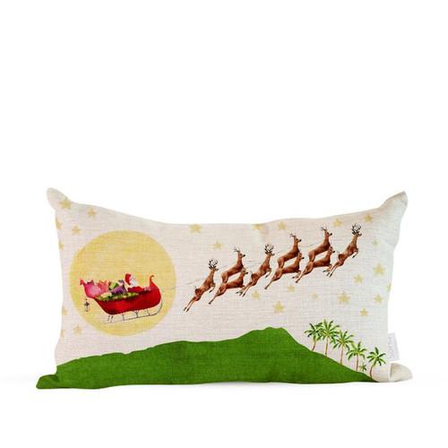 """Pillow Cover """"Santa Over Diamond Head"""""""