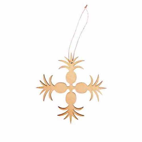 "Wood Ornament ""Pineapple Hawaiian Quilt"""