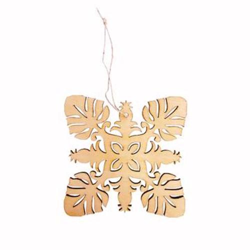 "Wood Ornament ""Monstera & Pineapple Hawaiian Quilt"""