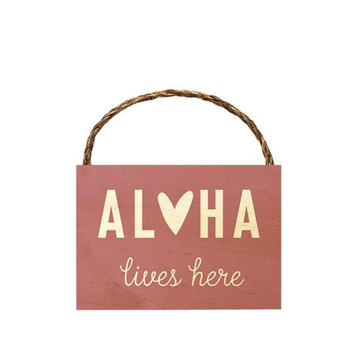 "Wood Sign ""Aloha Lives Here"" Heart"