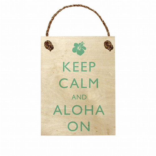 "Wood Sign ""Keep Calm and Aloha On"""