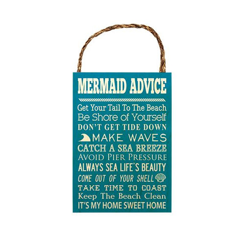 "Wood Sign ""Advice from a Mermaid"""