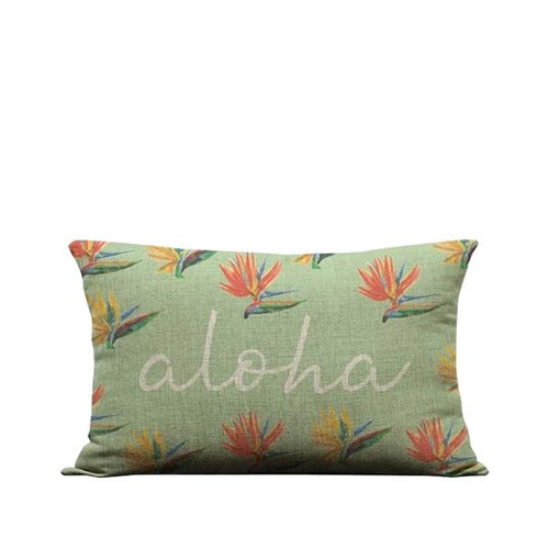 "Pillow Cover ""Birds of Paradise Aloha"" Script Sky"