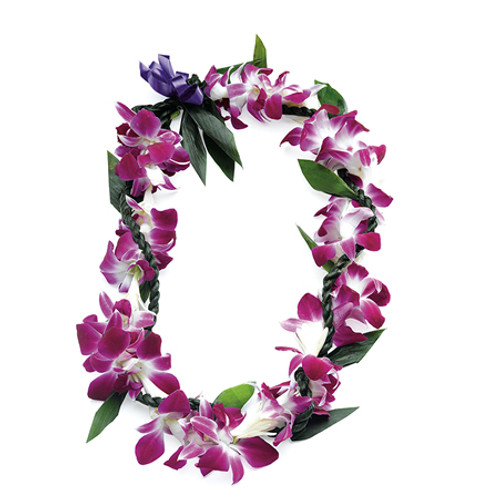 The ti leaf lei twisted in the wili style adds elegance to this fragrant, colorful lei. Ti or Kï was the sacred symbol of the gods.  Keeping with its spiritual symbolism of old, the ti leaf lei today represents good luck and protection.  This lei is popular for men, the masculine rope lei balancing the delicateness of the flowers.  Care: Sprinkle with water or lightly mist before refrigerating. The lei should be moist, but not sitting in condensation or moisture.  Life: Four to five days. Ships well.  Fragrance: Very Fragrant