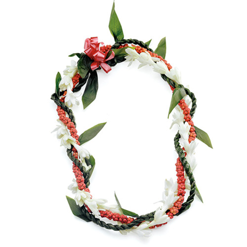 The bright red unscented berries of the octopus or he`e tree is wrapped with the sweet scent of the tuberose. This festive lei, popular during the holidays, is available year-round and dries nicely for lasting memories.  Care: Sprinkle with water or lightly mist before refrigerating. The lei should be moist, but not sitting in condensation or moisture.  Life: Two to three days. Ships well.  Fragrance: Very Fragrant  Variations: Wrapped with ti leaf lei as well.  Use white orchid lei for totally unscented lei, or omit the tuberose for a red and green twist.