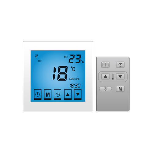 Lava Electric Underfloor Heating Touch Screen Thermostat - WHITE GLOSS