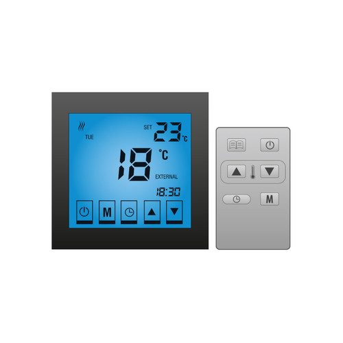 Lava Electric Underfloor Heating Touch Screen Thermostat - BLACK GLOSS