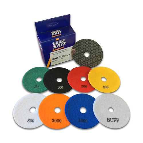 SAIT Diamond Disks DV100 SD STARTER KIT - SUPER DRY USE - 8 Piece Kit