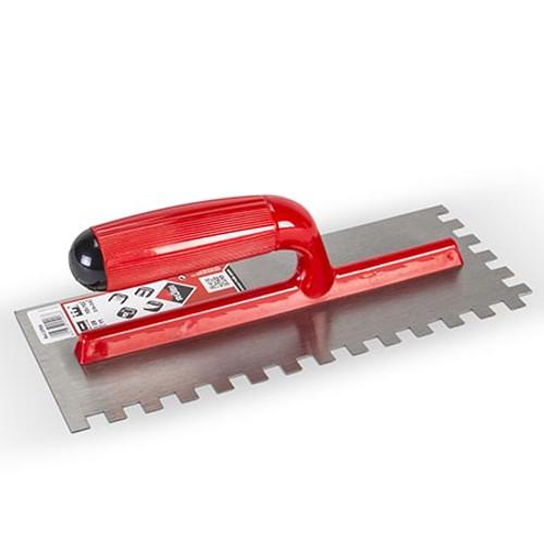 Rubi Steel Adhesive Trowel  with Plastic Handle - 8mm x 8mm - 25905