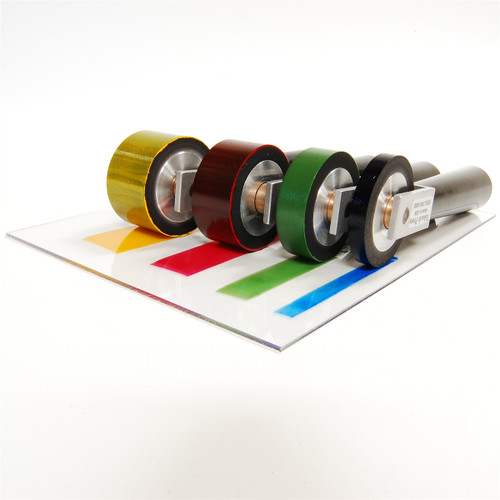 Takach Press Specialty Brayers rolling precision layers of selective color ink.