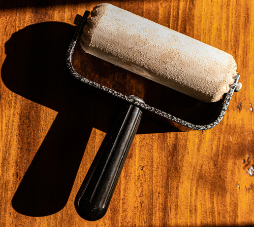 Leather Brayer used for applying heated hard and soft grounds