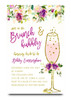 Brunch and bubbly Watercolor flower bridal shower invitation, water color, purple flowers, elegant