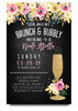 floral brunch and bubbly,chalkboard flowers, glitter champagne glass, brunch and flowers,boho bridal shower, floral, cheap bridal shower invitation, modern bridal shower, cute bridal shower invitation,