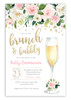 Brunch and bubbly bridal shower invitation, bubbly bridal invite, bridal shower brunch, bubbly,  brunch and bubbly invitation brunch shower invitation