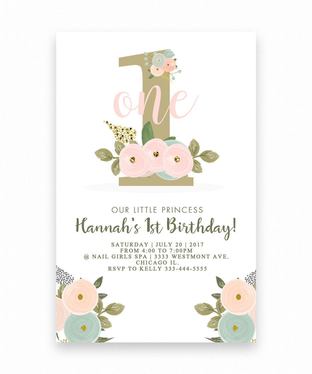 birthday invitation floral big one 1st birthday invitation