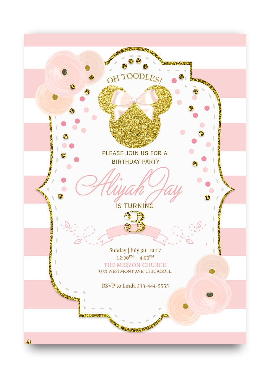 Minnie Mouse Glitter Birthday Gold