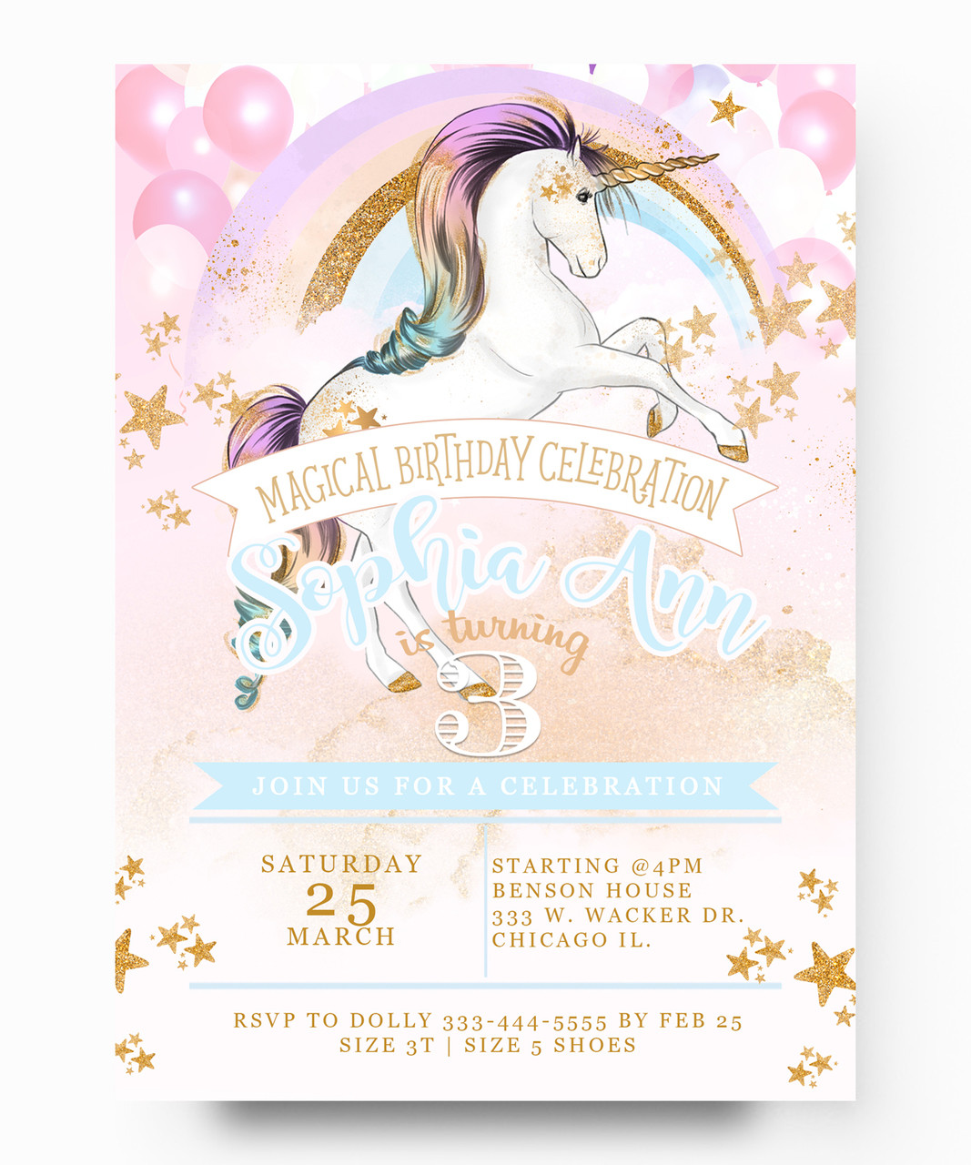 Unicorn Birthday Invitationunicorn Invitation Rainbows Horses Magical Colorful