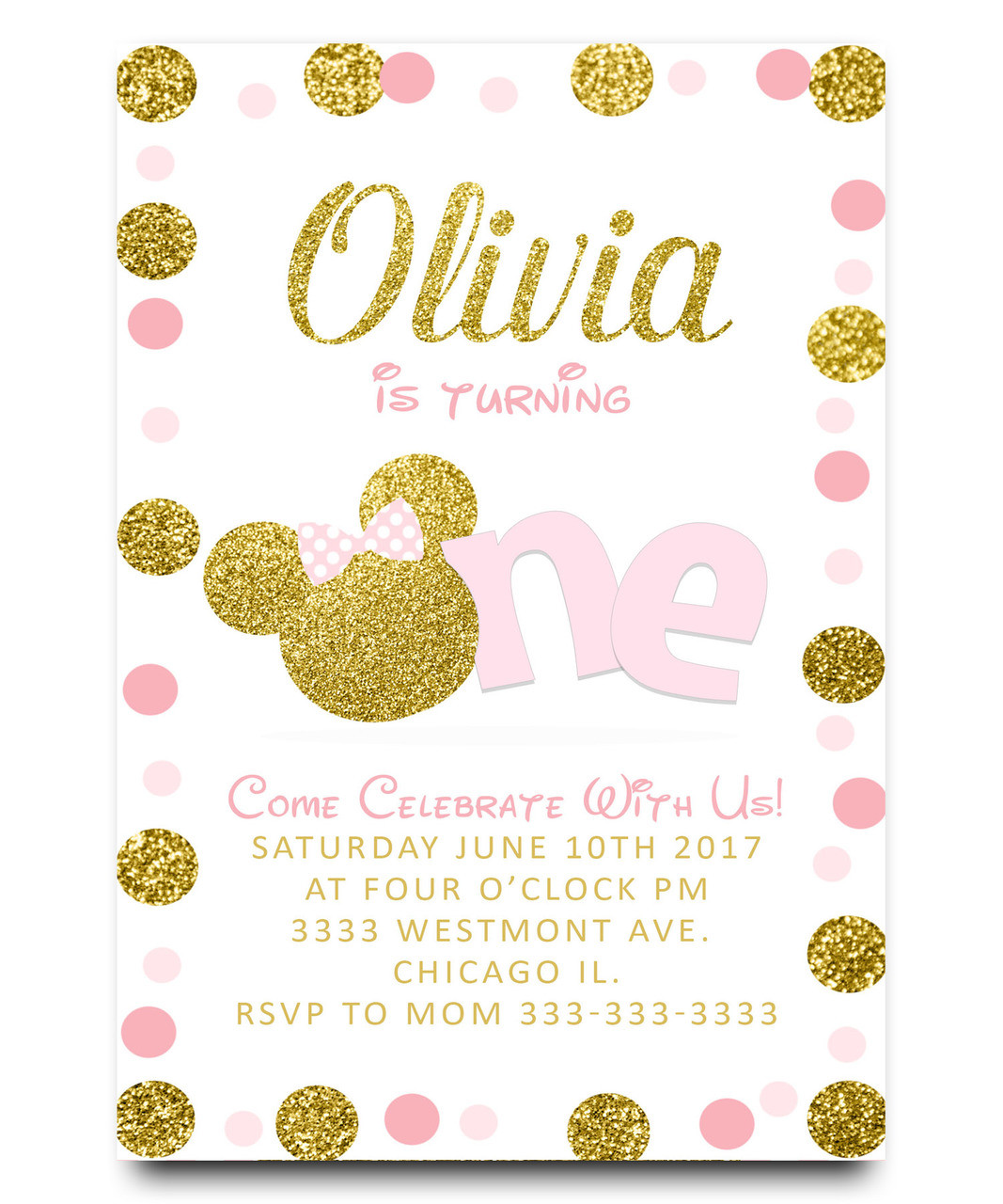 Minnie Birthday Invitation Pink And Gold