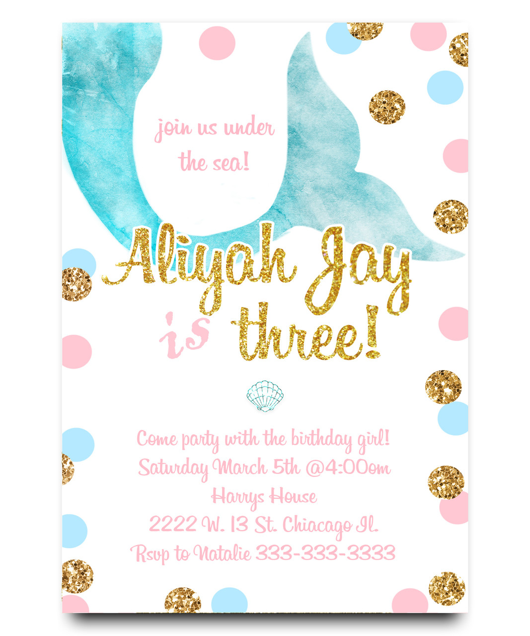 Mermaid Birthday Invitation Girl Pink And Gold Watercolor