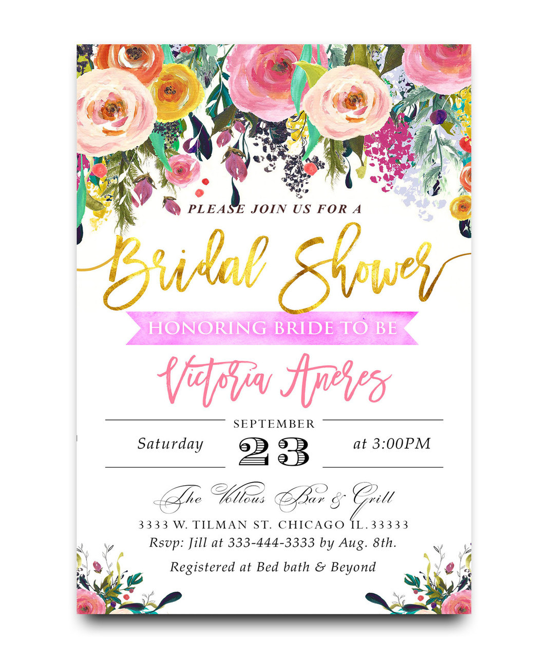 watercolor flower bridal shower invitation water color pink flowers elegant