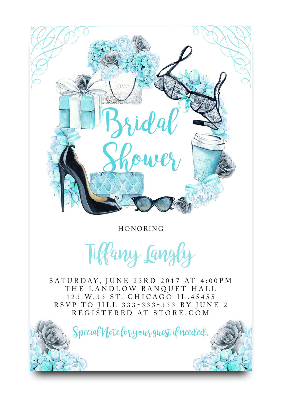 tiffany blue bridal shower invitation lingerie shower invitation