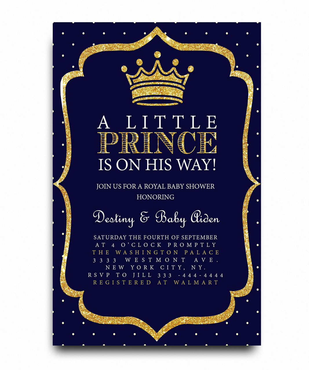 Little Prince Baby Shower Invitation Royal Baby