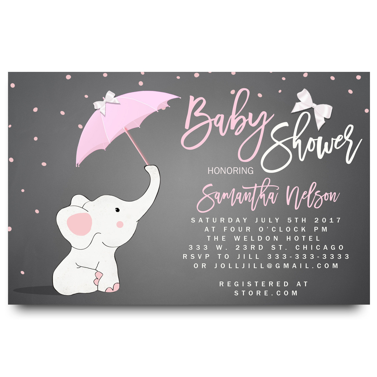 Little Elephant Baby Shower Invitation