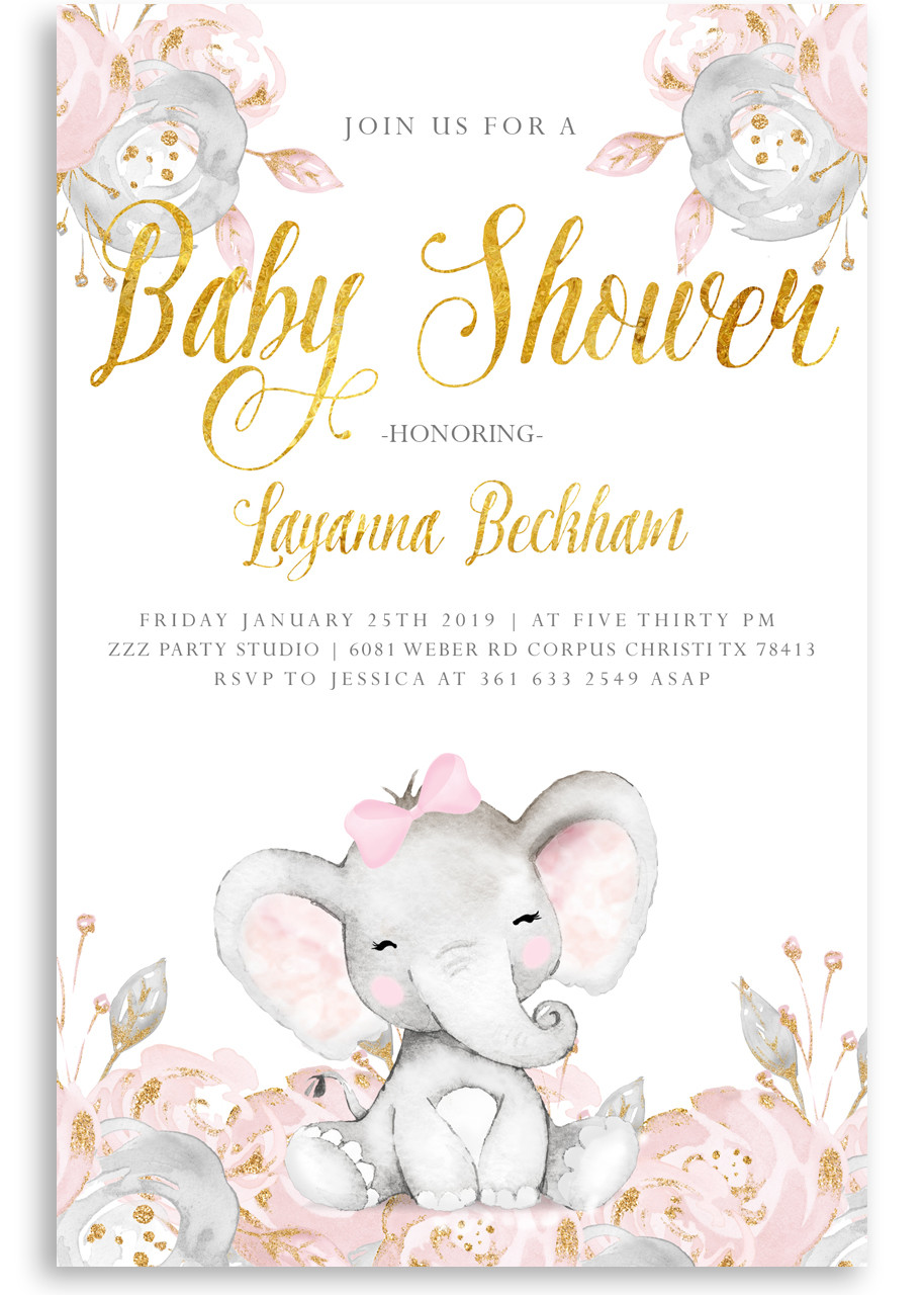 Pink Elephant Baby Shower Invitation Pink Elephant