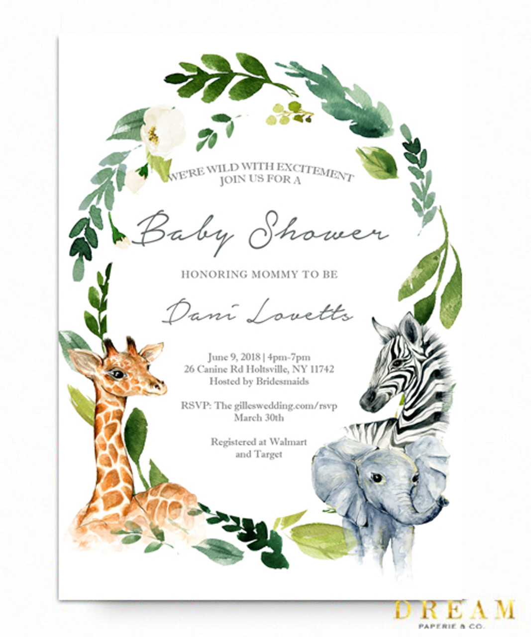 Jungle Baby Shower Invitation, Zoo Baby Shower, Safari