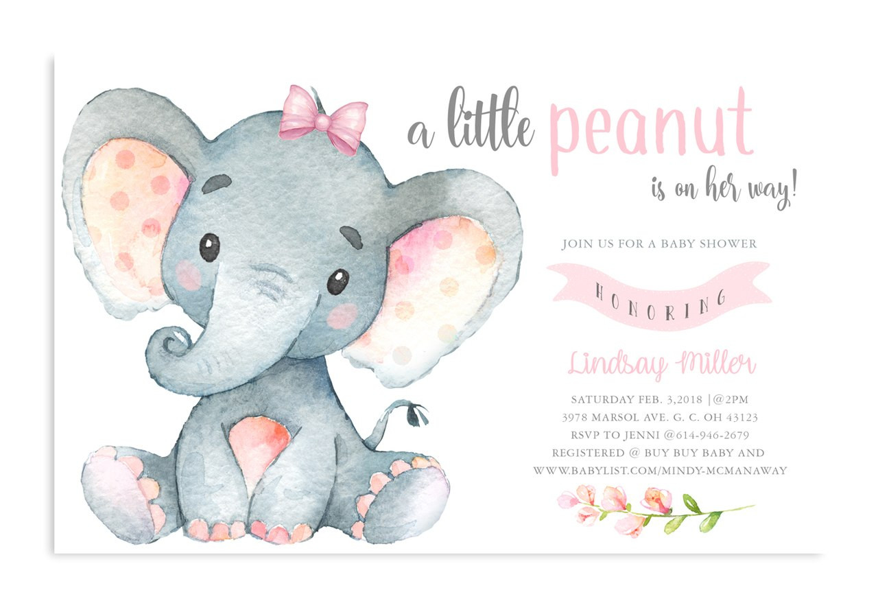 Elephant Baby Shower Invitation Pink Floral Elephant 4