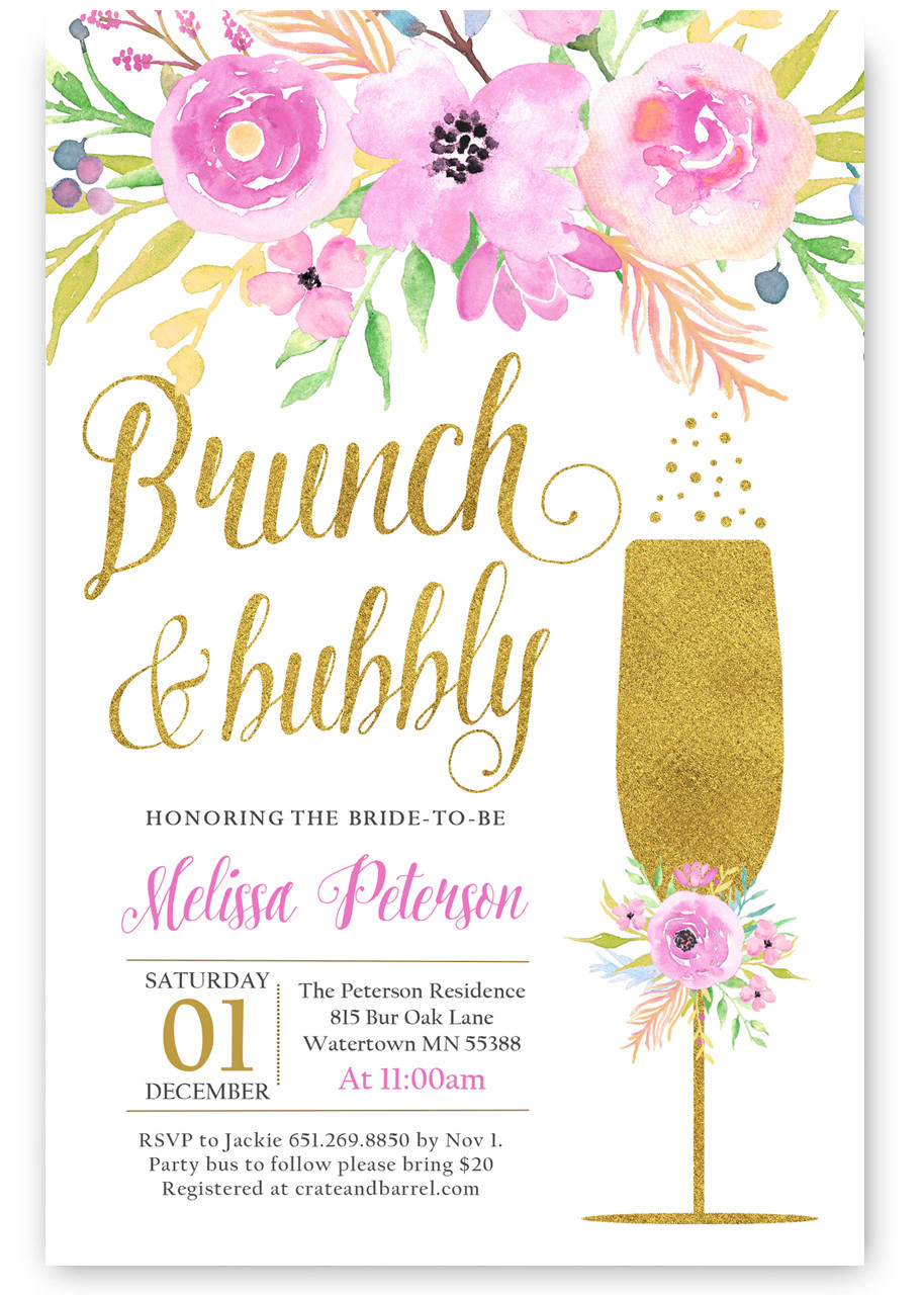 Brunch And Bubbly Bridal Shower Invite 7