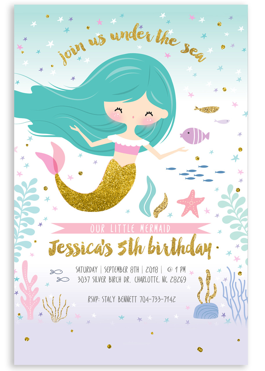 Mermaid Birthday Invitation Glitter Invite 1
