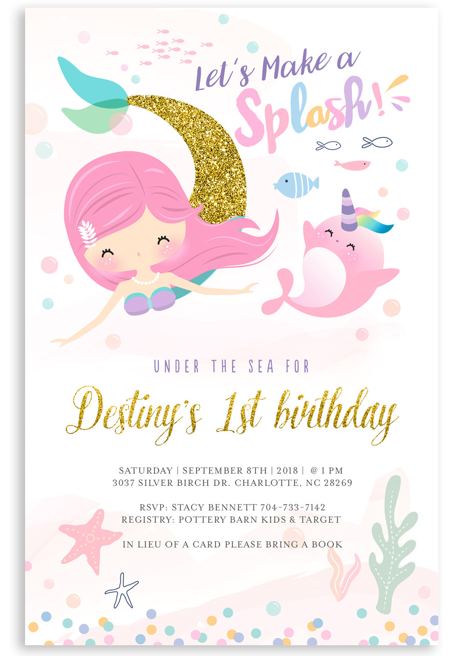 Mermaid Birthday Invitation Glitter Invite 1 Girl