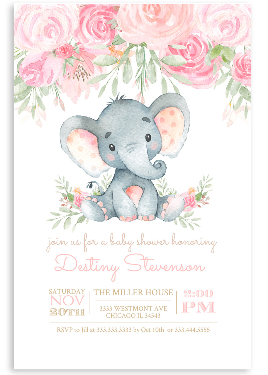 Elephant Baby Shower Invitation Pink Floral Elephant 33