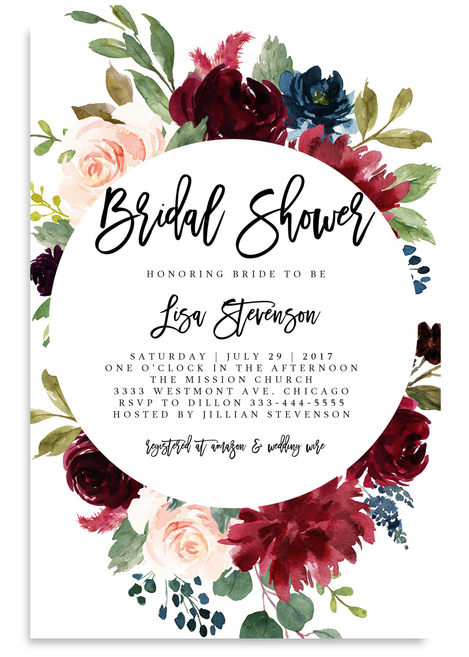 Bridal Shower Invitation Burgundy And Pink Flowers 25