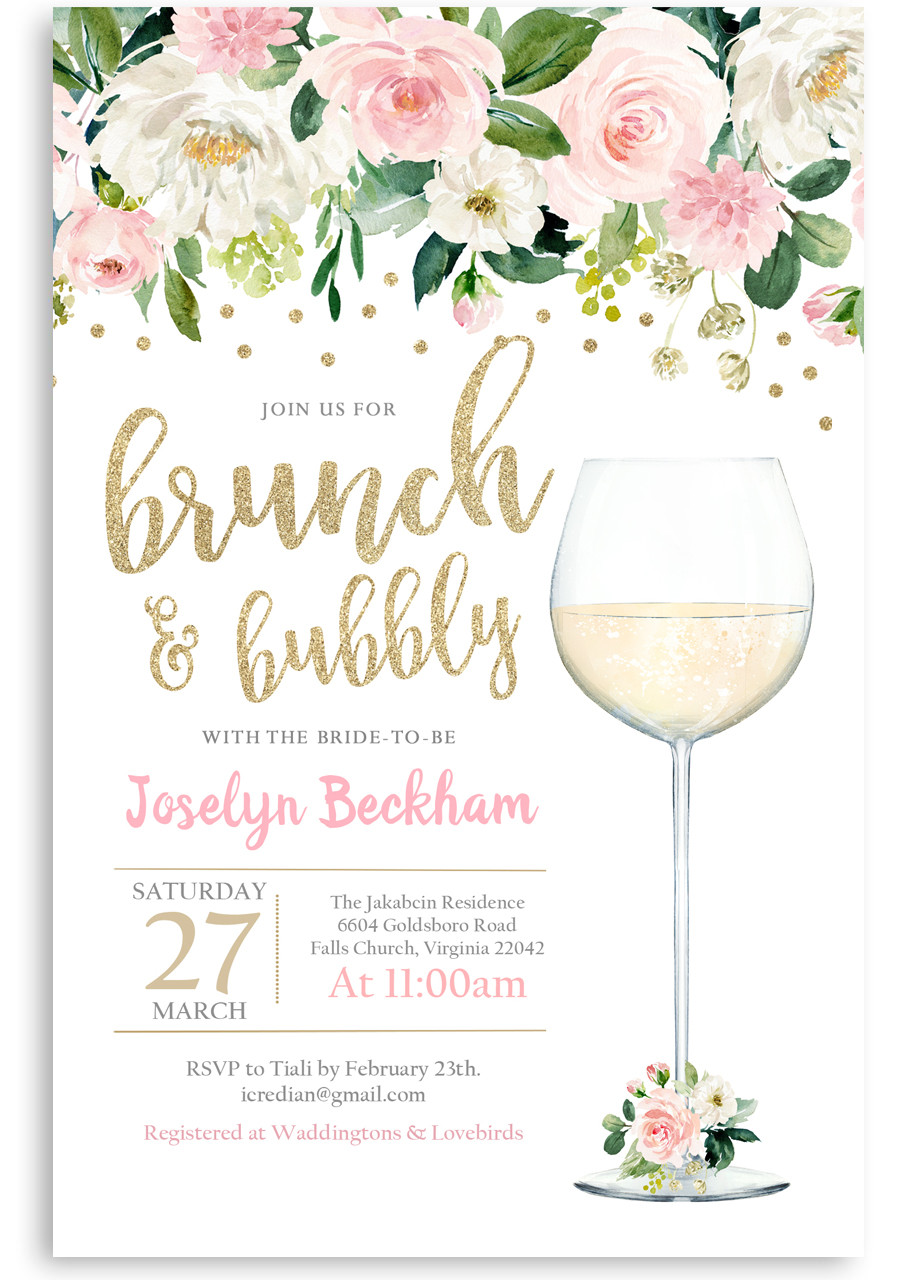 Brunch And Bubbly Bridal Shower Invite 19