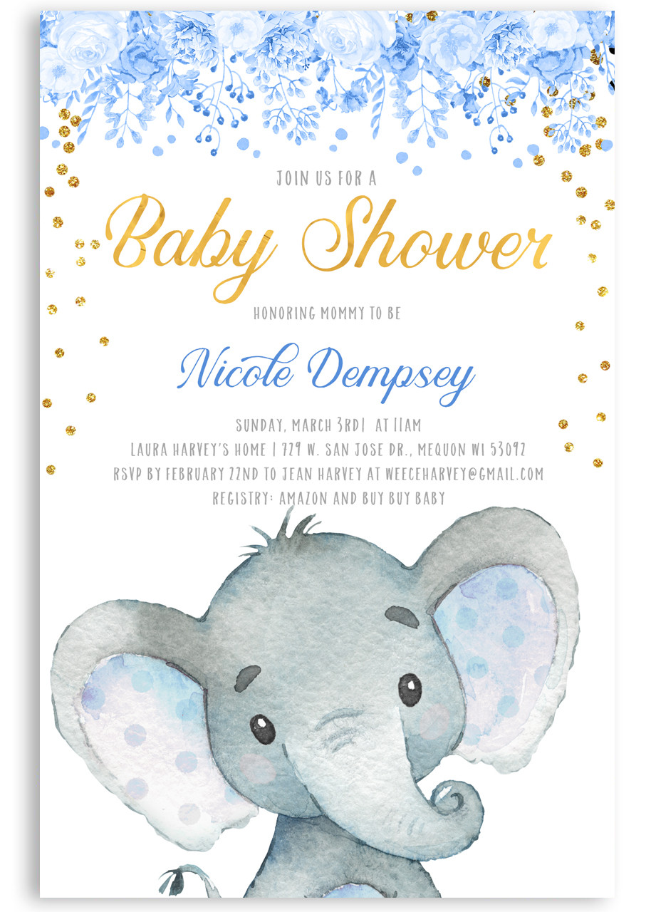 Blue Elephant Baby Shower Invitation Blue Elephant 41