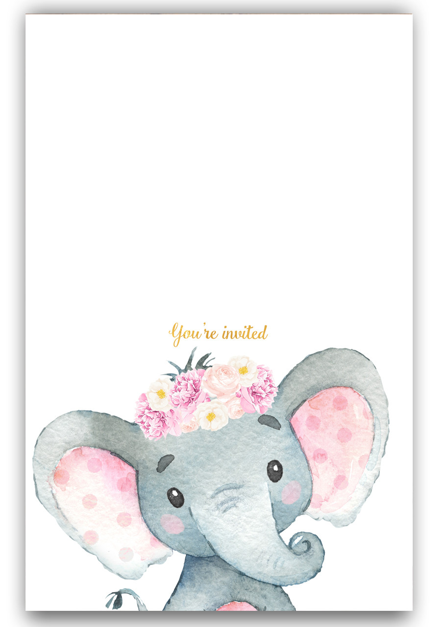 elephant baby shower invitation  pink floral elephant  42