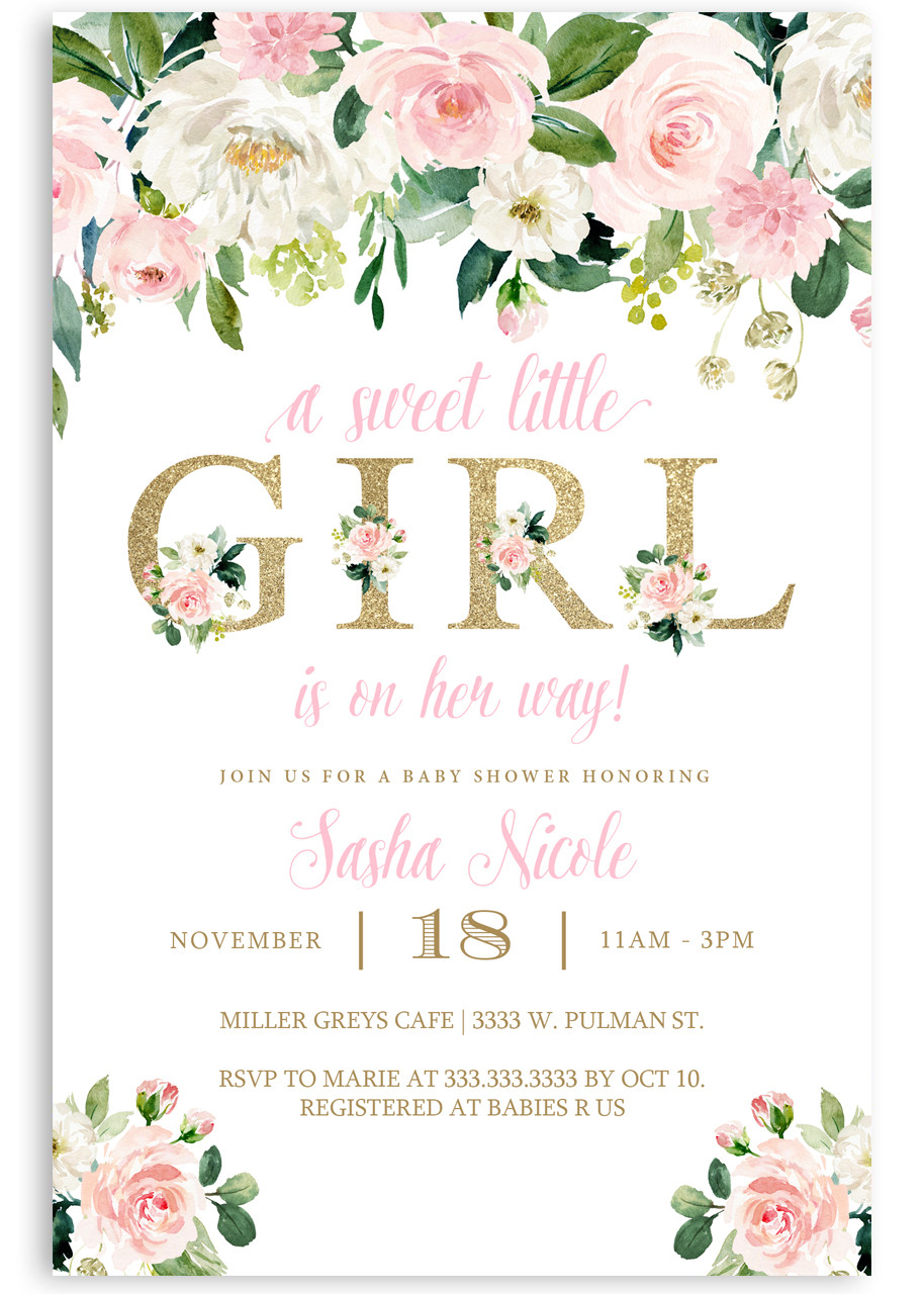 Floral Baby Shower Invitation Flower Baby Shower Invite Watercolor Baby Shower 5