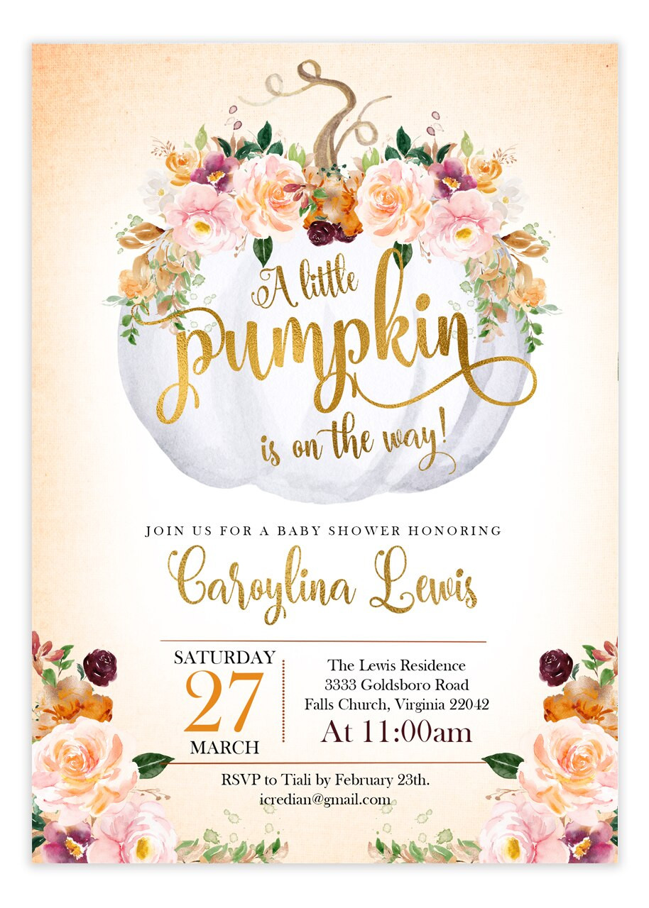 Pumpkin Baby Shower Invitation, Fall Baby Shower #a1
